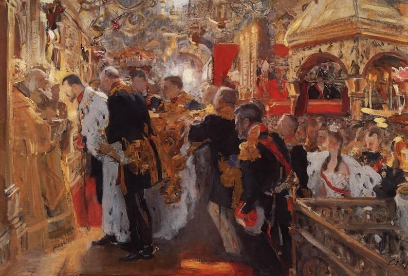 Валентин Серов. Коронация. Миропомазание Николая II в Успенском соборе, 1896