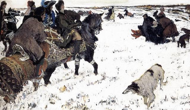 Валентин Серов. Петр I на псовой охоте. 1902