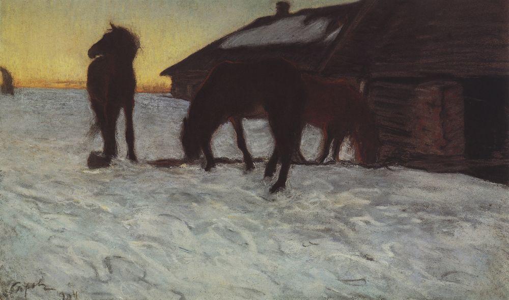 Валентин Серов. Стригуны на волопое. Домотканово. 1904