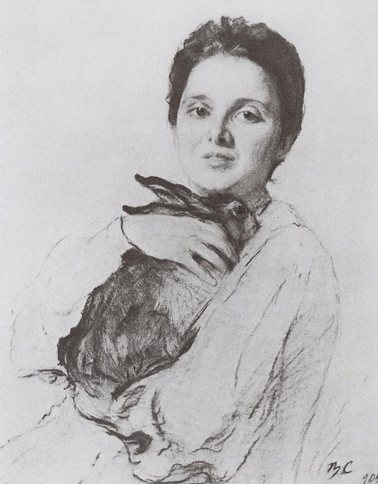 Валентин Серов. Портрет К.А.Обнинской с зайчиком. 1904