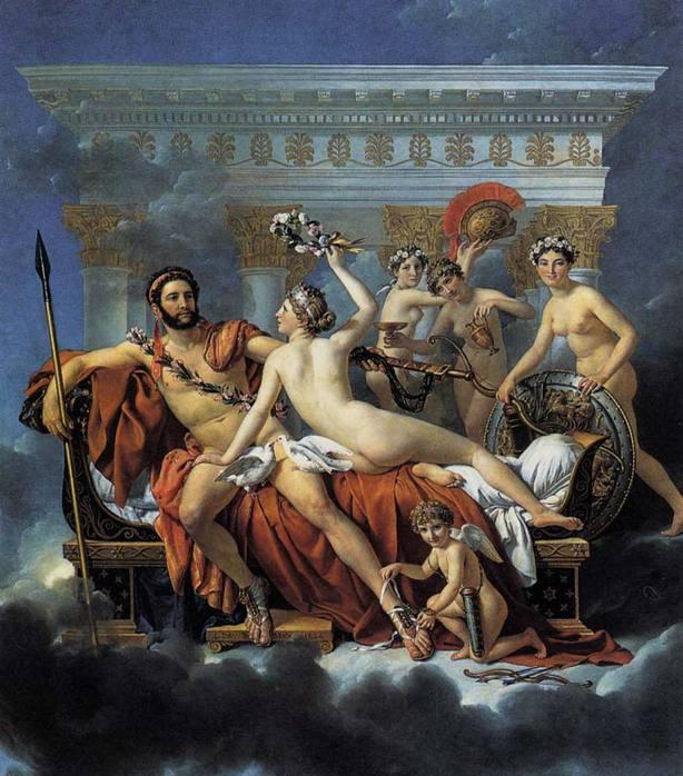 Жак-Луи Давид. Венера и грации обманывают Марса. 1824