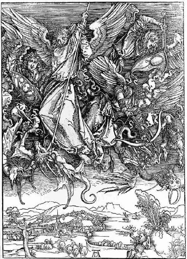 Альбрехт Дюрер. Битва архангела Михаила с драконом. 1497