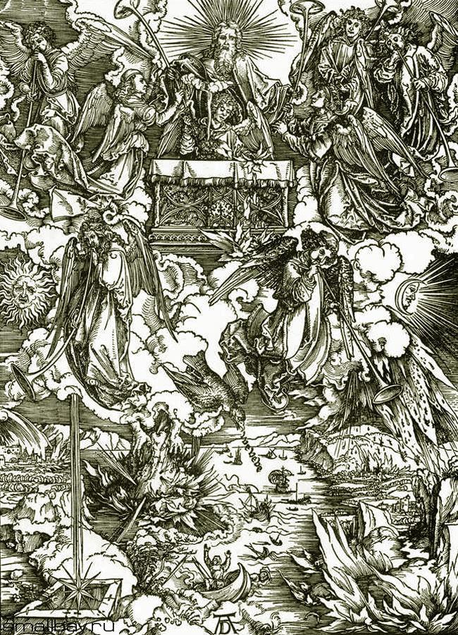 Альбрехт Дюрер. Семь ангелов получают трубы. Снятие седьмой печати. 1496-97.