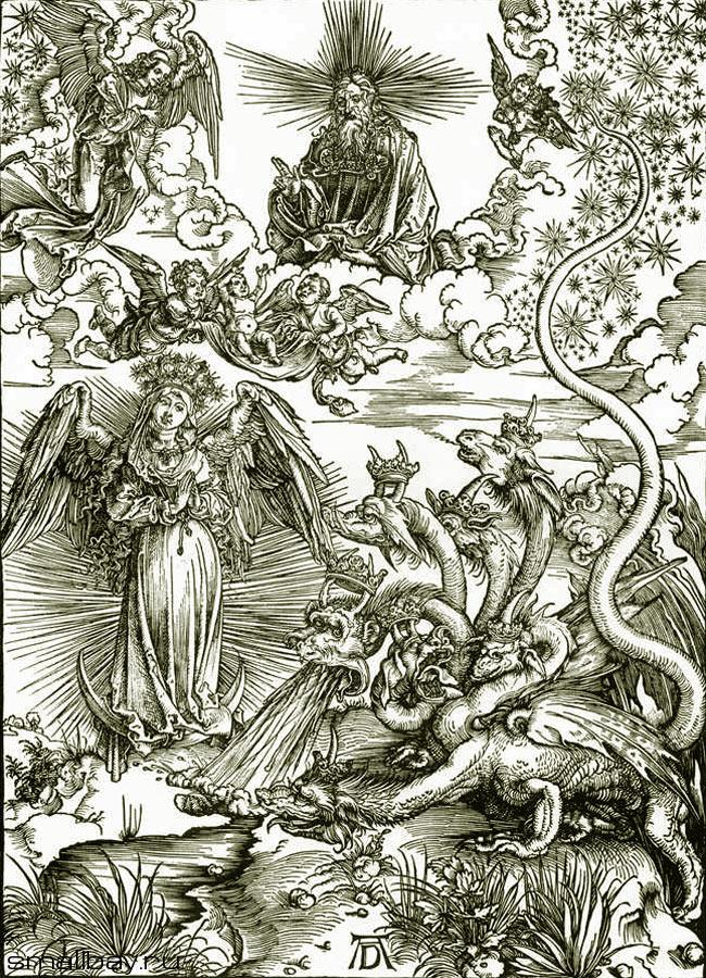 Альбрехт Дюрер. Жена, облеченная в солнце. 1497