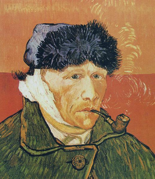 Винсент ван Гог. Автопортрет с перевязанным ухом и трубкой. 1889