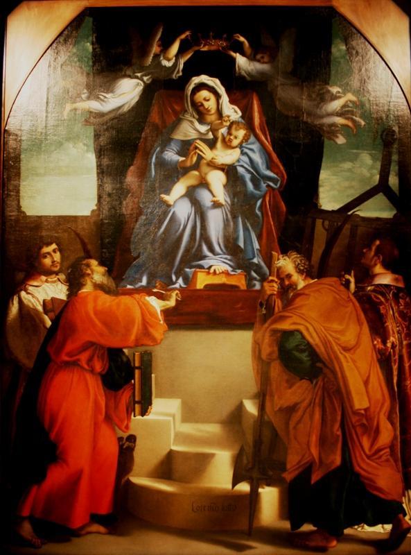 Лоренцо Лотто. Мадонна, коронуемая ангелами, с Младенцем и Святыми. 1538
