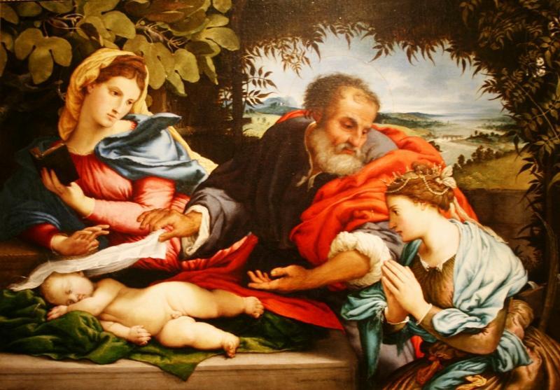 Лоренцо Лотто. Святое семейство со Св.Екатериной Александрийской. 1533