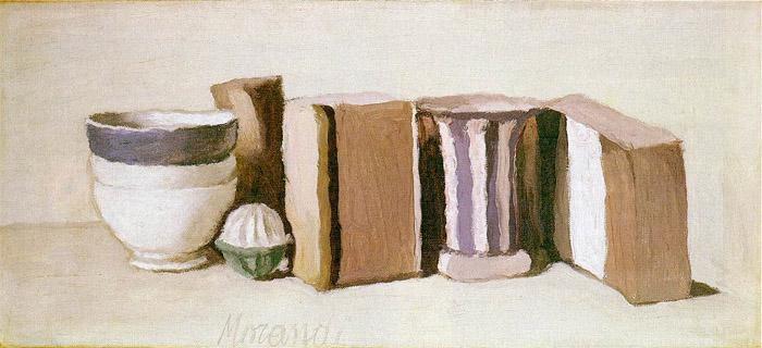Джорджо Моранди. Натюрморт. Чашки и коробки. 1951