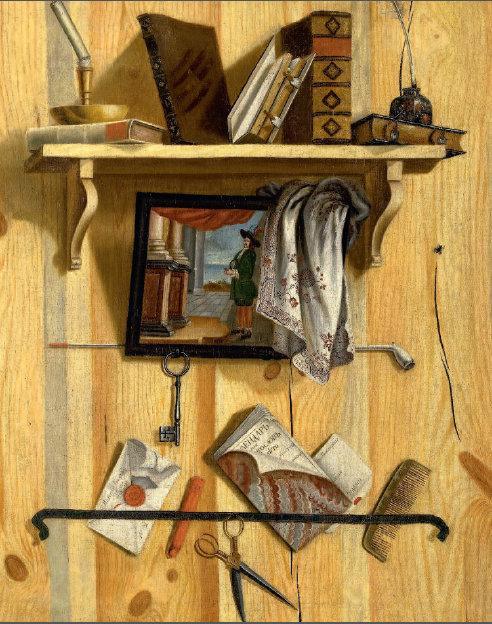 Трофим Ульянов. Натюрморт с книгами. Обманка. 1737