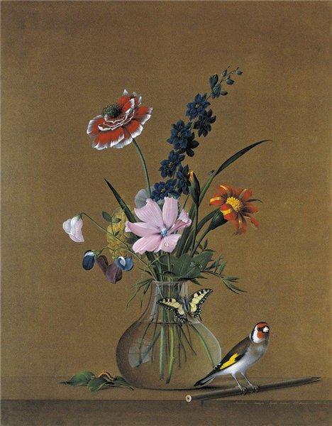 Ф.П.Толстой. Букет цветов, бабочка и птичка. Натюрморт. 1820