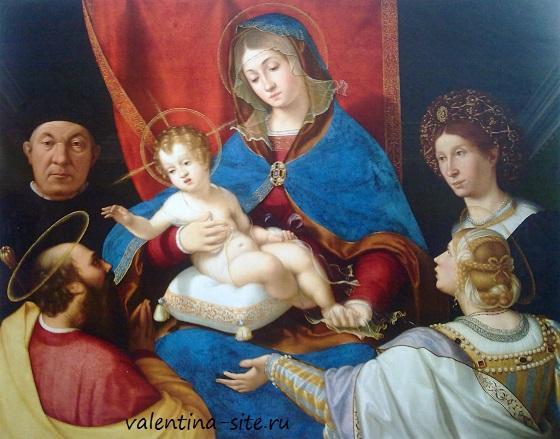 Андреа Превитали. Мадонна с Младенцем, Святыми Павлом, Агнесой и донаторами Паоло и Аньезе Кассотти. (Мадонна Кассотти). 1523