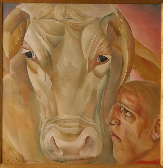 Борис Григорьев. Человек с быком, 1920
