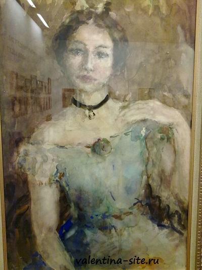 Артур Фонвизин. Портрет артистки в сценическом платье. 1950