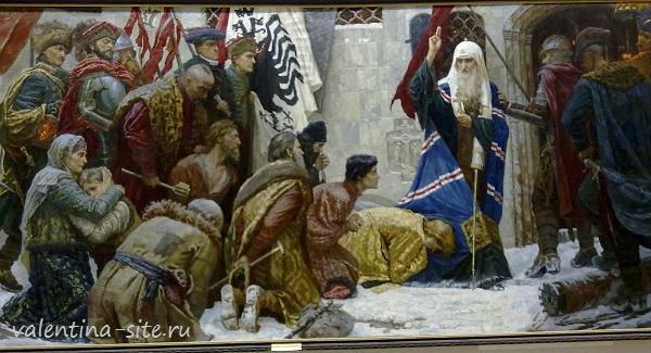 Моргун В.О. Поляки ведут св.Гермогена в темницу. Дипломная работа 2008г. Мастерская истор.-религ.живописи