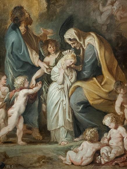 Питер Пауль Рубенс. Святая Анна украшает Марию цветами.1609