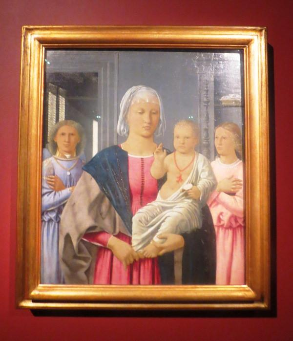 Пьеро делла Франческа. Мадонна с благословляющим Младенцем и двумя ангелами