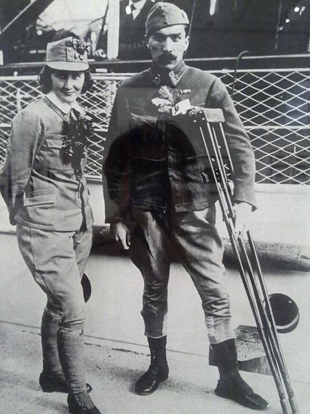 Засниц. Обмен военнопленными. Австрийская военнослужащая, сражавшаяся в польском легионе на русском фронте. Германия. 1914-1918