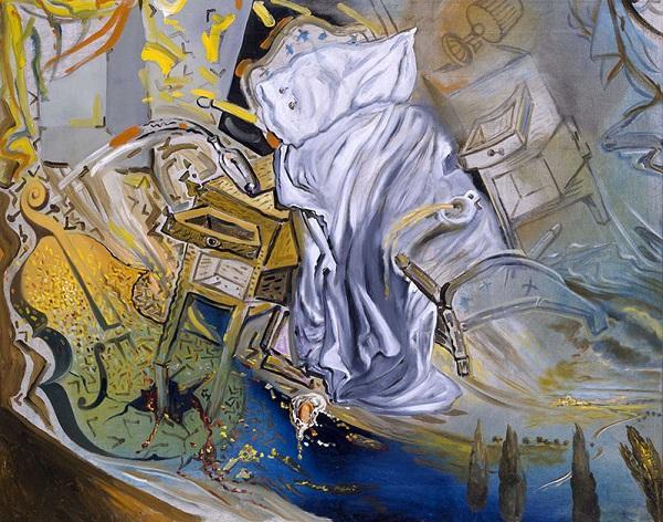 Сальвадор Дали. Кровать и две тумбочки, жестоко атакующие виолончель. 1983. Центр искусств королевы Софии, Мадрид