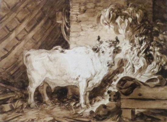 Жан-Оноре Фрагонар. Белый бык и собака в стойле. 1770-е