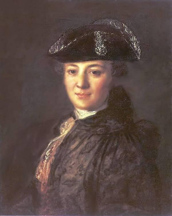 Портрет неизвестного в треуголке. Вероятно, первая жена Струйского