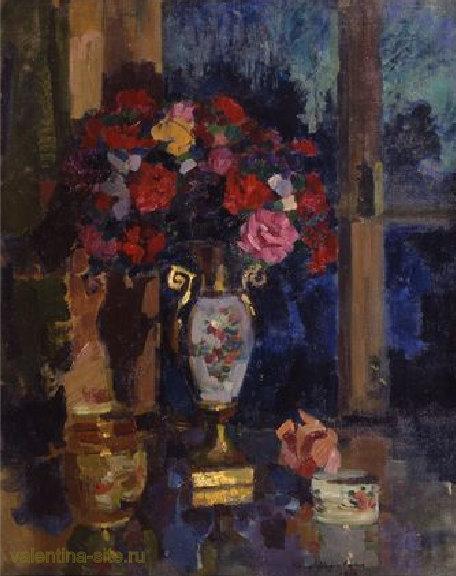 Константин Коровин. Букет бумажных роз. 1912
