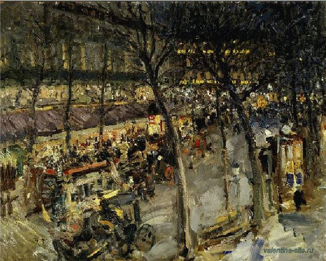 Работа Константина Коровина. Париж. Кафе де ля Пэ. 1906