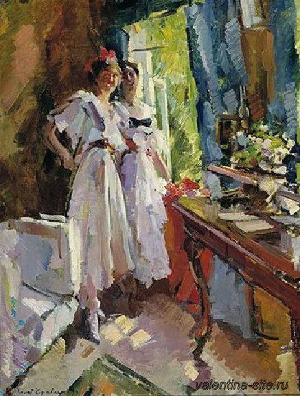 Константин Коровин. У открытого окна. Портрет дочерей Ф.И.Шаляпина. 1916