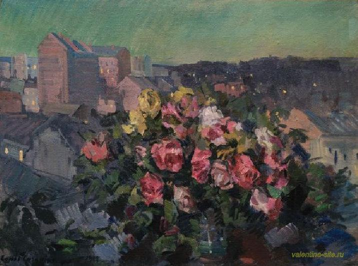 Работа Константина Коровина. Розы на фоне вечернего города. 1908