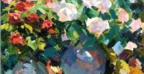 Константин Коровин. Розы в голубых кувшинах. 1917