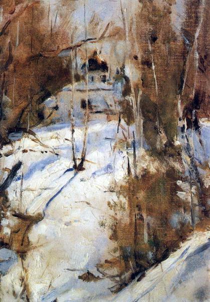 Валентин Серов. Зима в Абрамцеве. Церковь. 1886