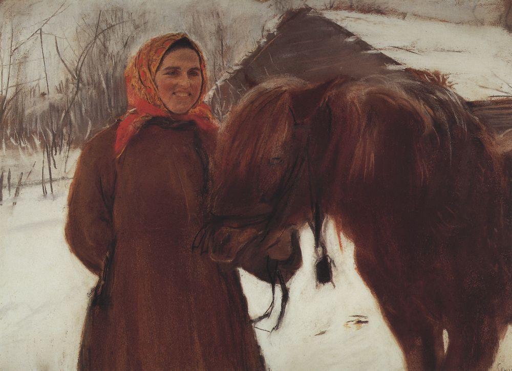 Валентин Серов. В деревне. Баба с лошадью. 1898