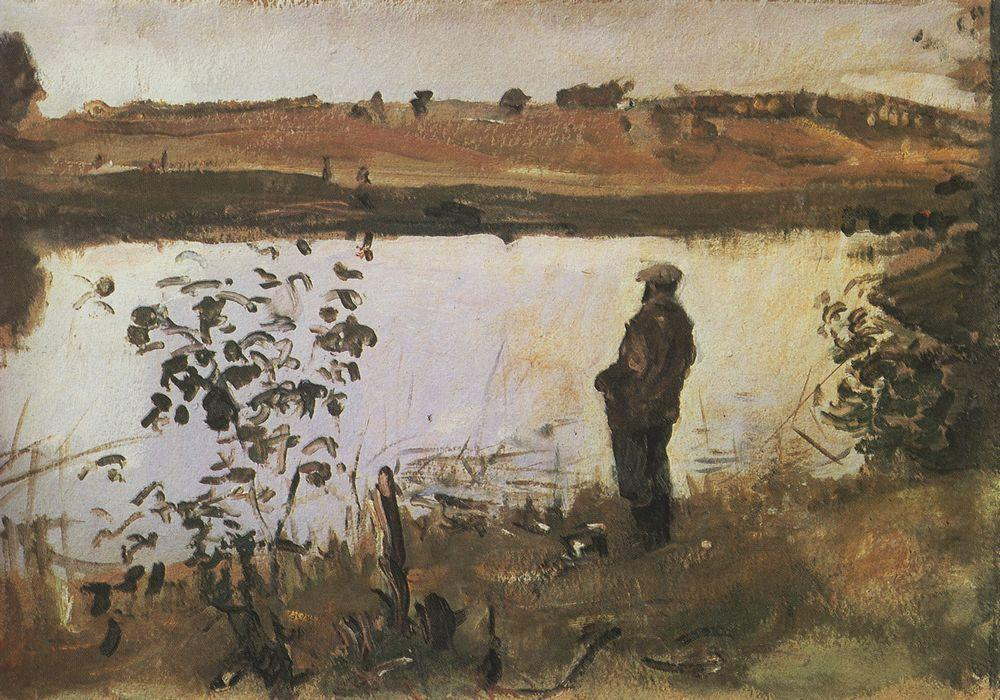 Валентин Серов. Художник К.А.Коровин на берегу реки. 1905