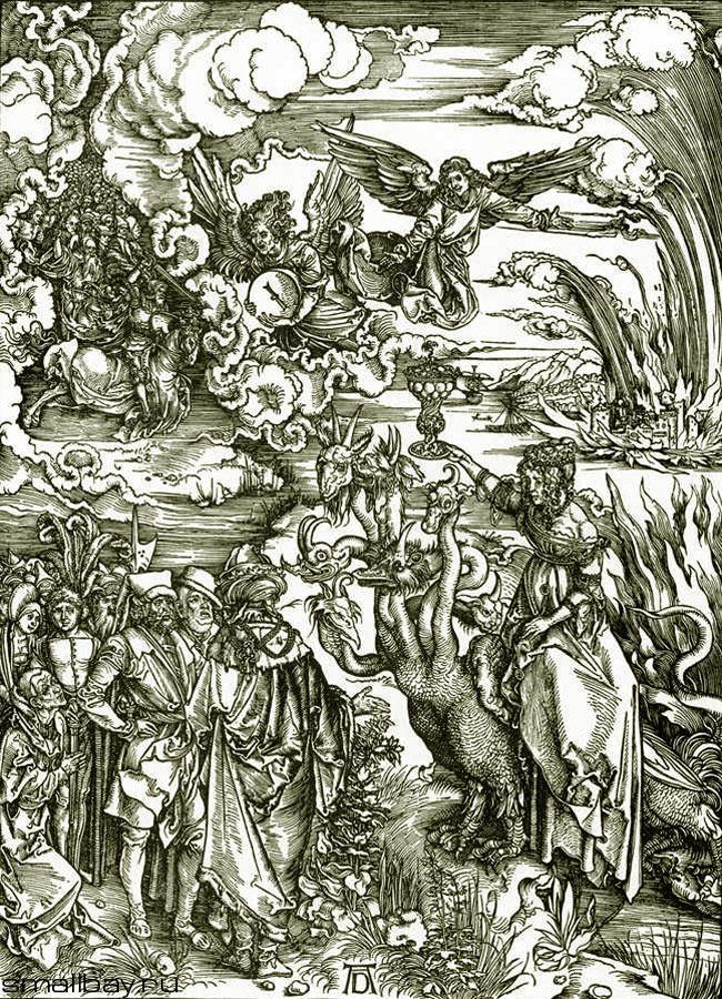 Альбрехт Дюрер. Вавилонская блудница. Ангел с камнем, подобным жернову. 1496-1497