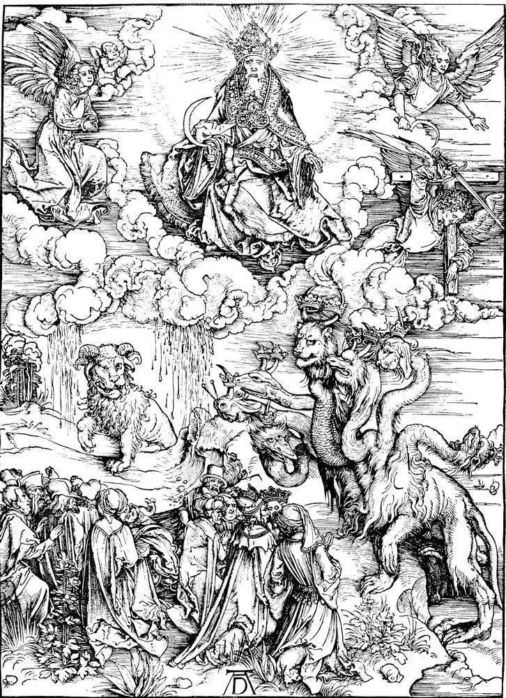 Альбрехт Дюрер. Видение зверя с семью головами и десятью рогами. Зверь с двумя рогами, подобными агнчим. 1498