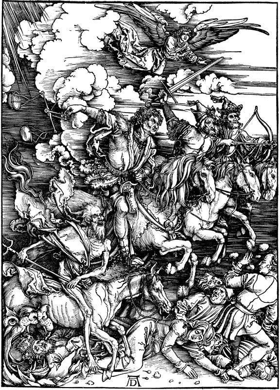 Альбрехт Дюрер. Снятие первых четырех печатей. Всадники Апокалипсиса. 1497