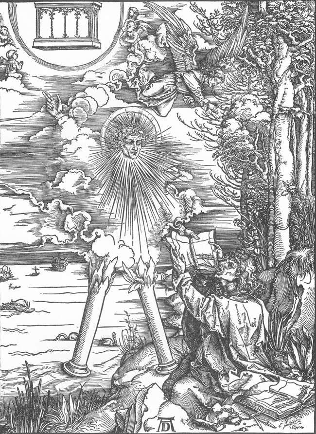 Альбрехт Дюрер. Св.Иоанн, получающий книгу, которую он должен съесть. 1497