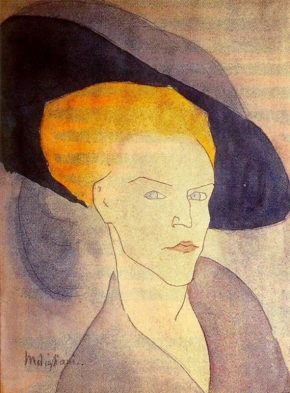 Амедео Модильяни. Голова женщины в шляпе. 1907