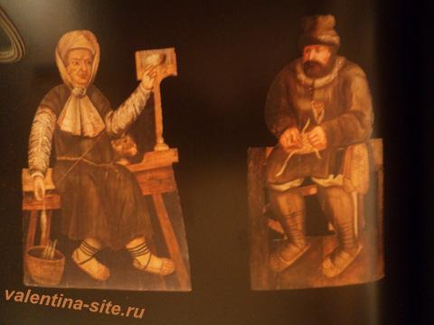 Неизвестный художник. Пожилая крестьянка. Бородатый крестьянин. XVIII век. Фигурная обманка