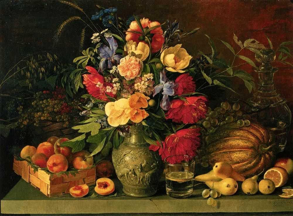 Хруцкий И.Ф. Цветы и плоды. Натюрморт. 1839