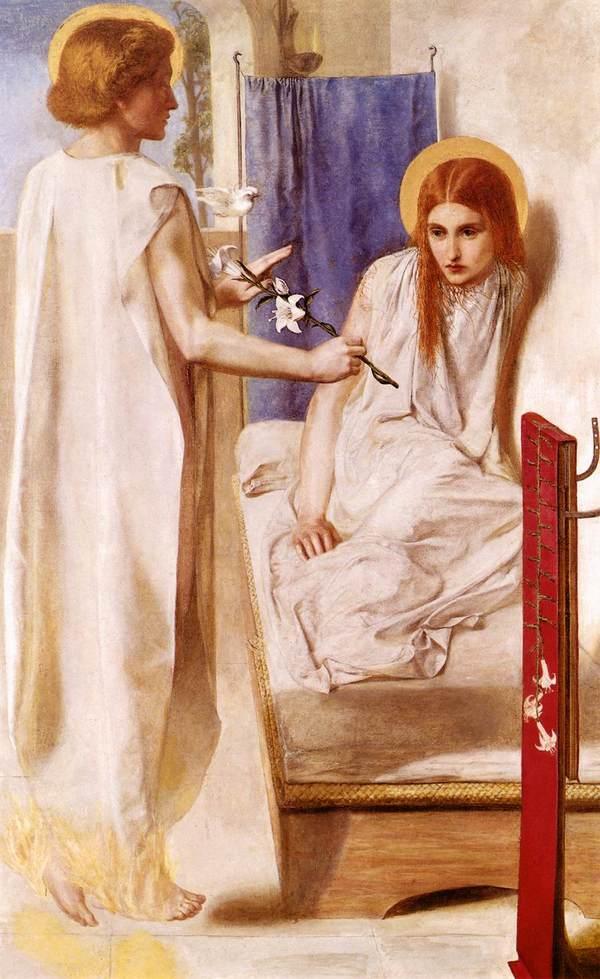 Данте Габриэль Россетти. Ecce Ancilla Domini (Благовещение). 1849-1850
