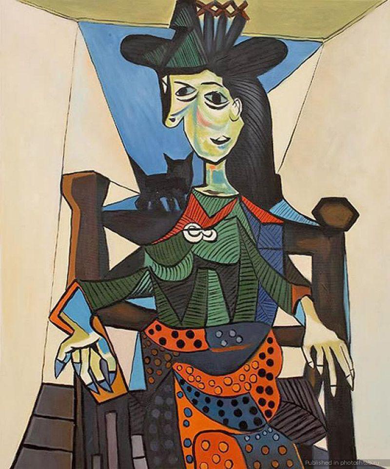 Пабло Пикассо. Дора Маар с кошкой. 1941