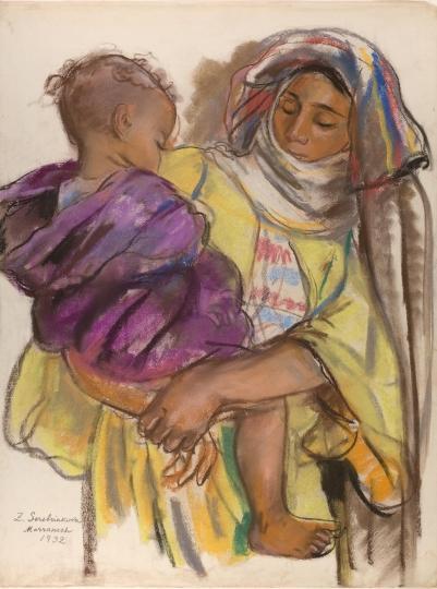 Марокканка с ребенком на руках. 1932