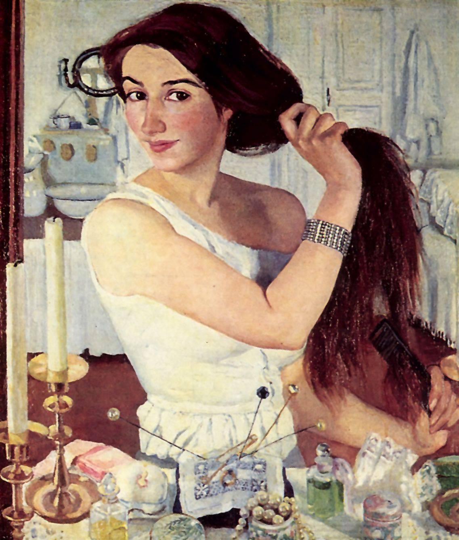 Автопортрет. За туалетом. 1910