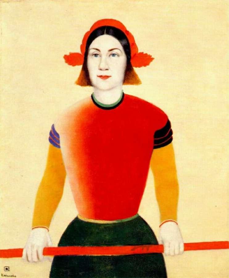 Девушка с красной шестом. 1932-33