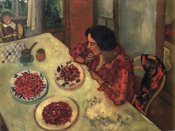 Клубника. Белла и Ида за столом. 1915