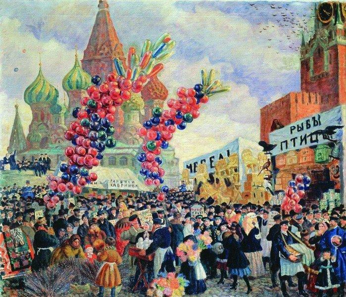 Борис Кустодиев. Вербный торг у Спасских ворот на Красной площади