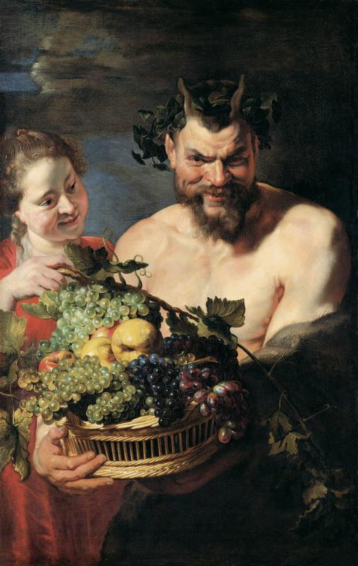 Питер Пауль Рубенс. Сатир и служанка с корзиной фруктов. Ок. 1615