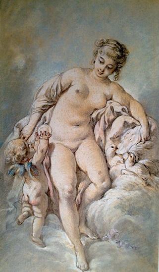 Франсуа Буше. Венера с Амуром и голубями.