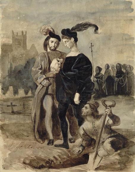 Эжен Делакруа. Гамлет и Горацио на кладбище. Около 1828