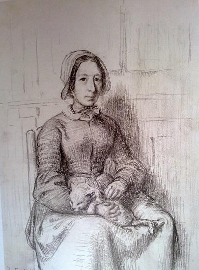 Жан-Франсуа Милле. Эмили Милле с кошкой. 1854